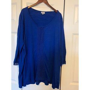 NWOT, Avenue, Royal Blue Tunic, Size 30-32